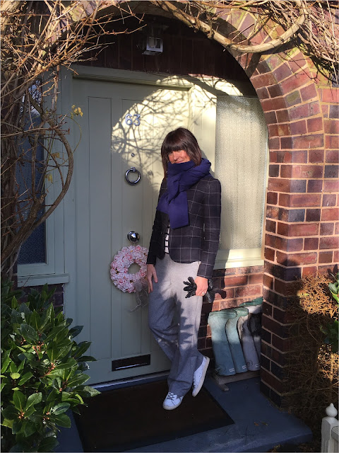 My Midlife Fashion, Zara Cashmere Scarf, Checked fitted blazer, marks and spencer wide legged wool trousers, golden goose trainers, hush striped knitted jumper