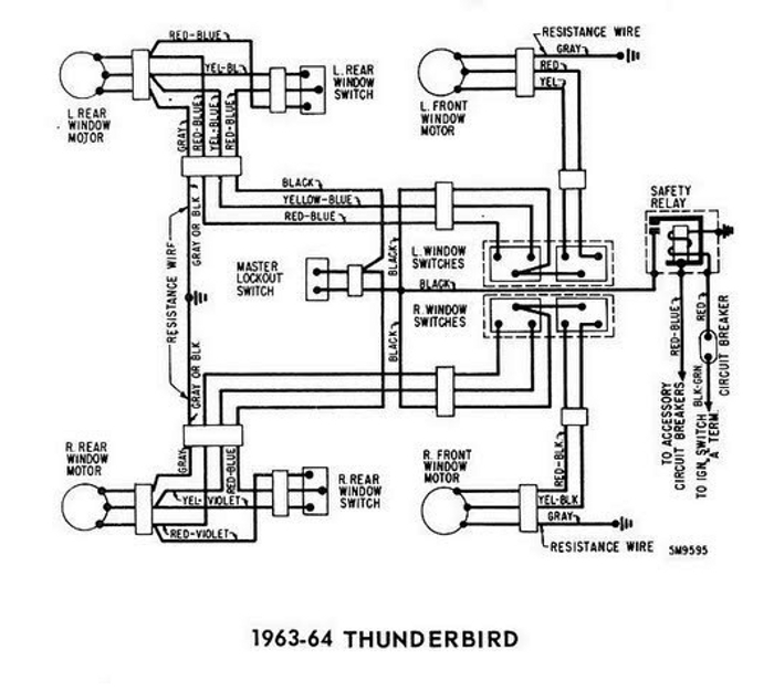 windows wiring diagram for 1963-64 ford thunderbird | all ... 75 ford ignition wiring diagram #13
