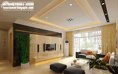 False ceiling modern design interior living room