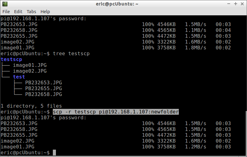 Hello Raspberry Pi: scp copy folder