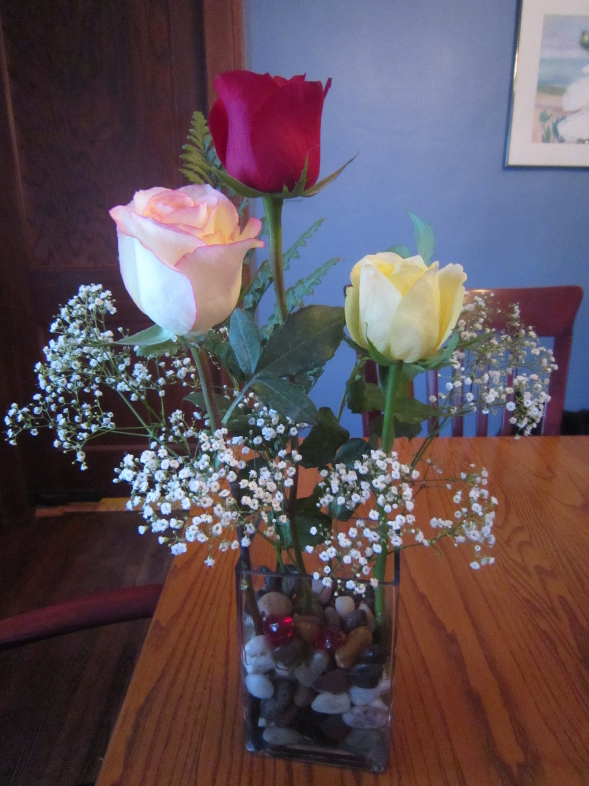 Chuck Does Art Artfully Arranging Flowers Three Roses For Valentines