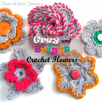 Grey and Bright Crochet Flowers