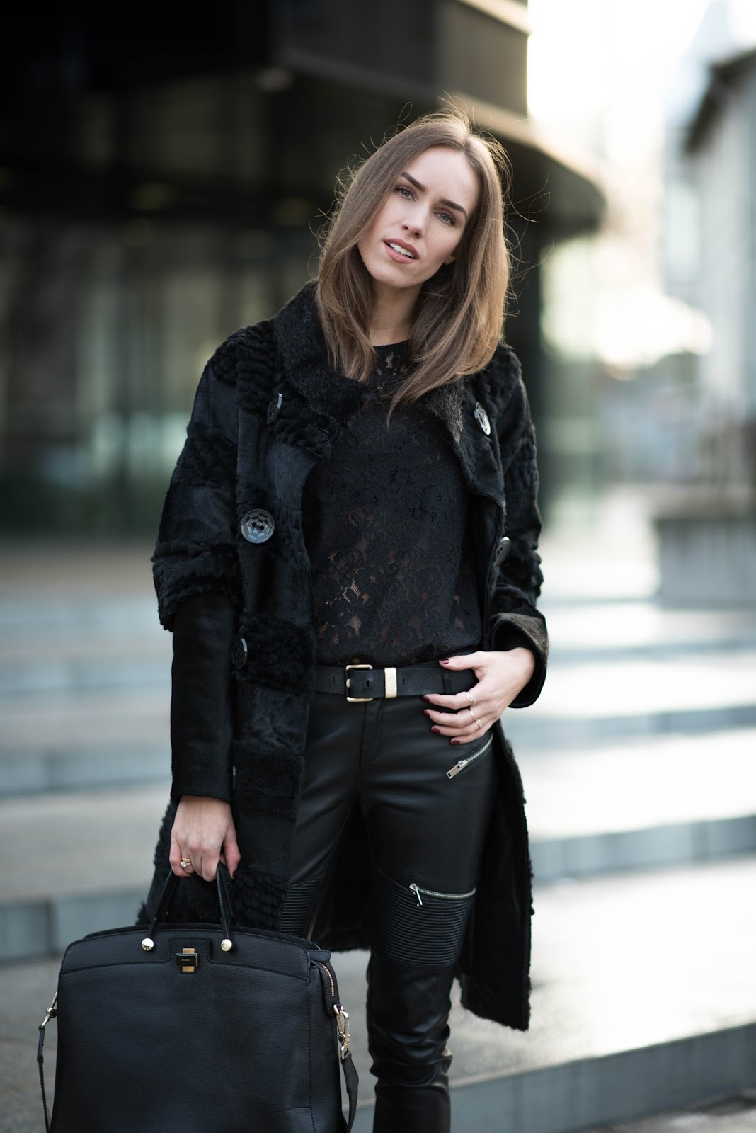 all black winter fashion