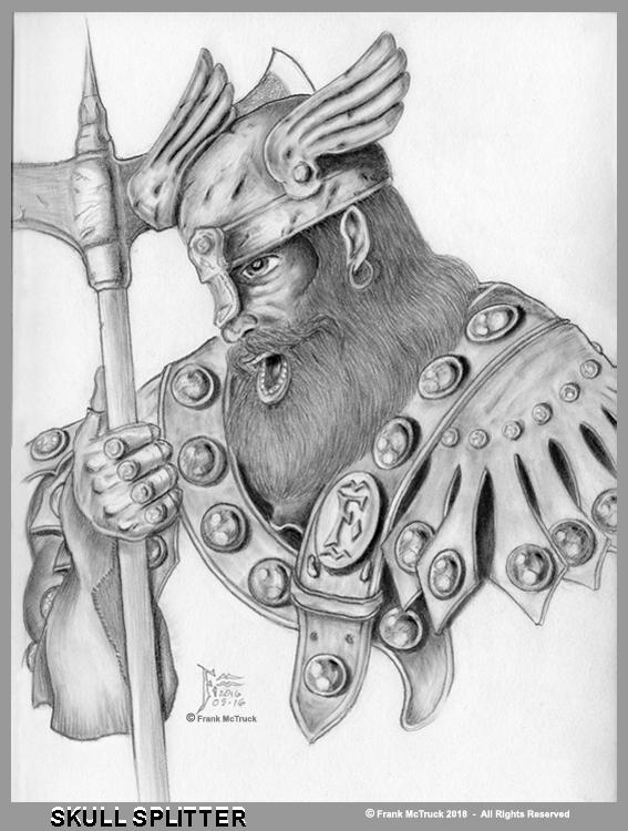Frank McTruck pencil 'Warrior' illustration - 'Skull Splitter'