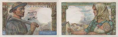 Francia: Billete de 10 francos de 1944