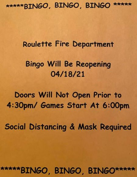 4-18 Roulette Bingo Will Be Reopening