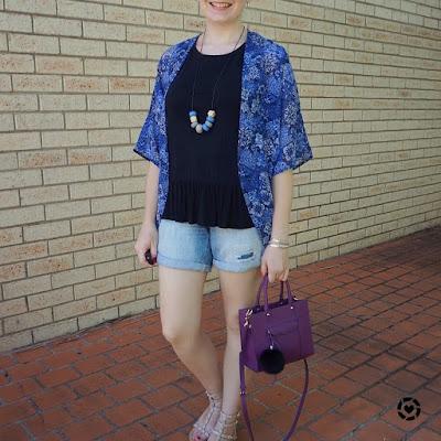 awayfromtheblue instagram | navy printed kimono black peplum tank and denim shorts