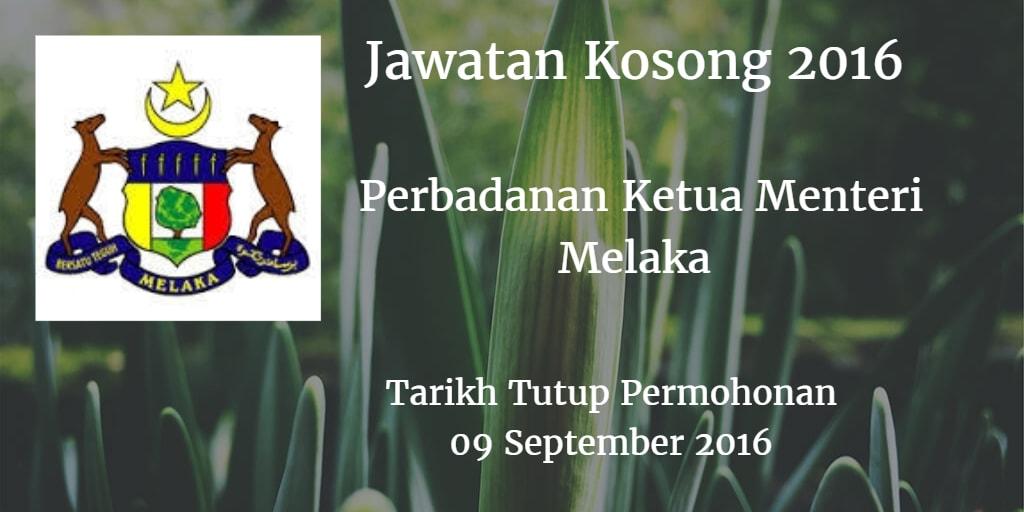 Jawatan Kosong Perbadanan Ketua Menteri Melaka  09 September 2016