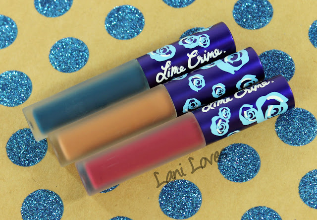 Lime Crime Holiday Velvetines Trio - Buffy, Beet It and Peacock Swatches & Review