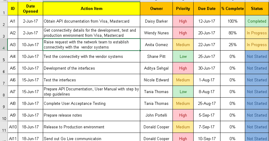 action item tracking excel template download