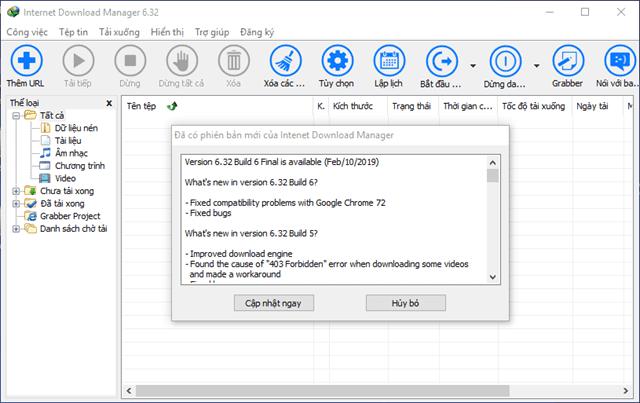 Internet Download Manager Update thường xuyên khi có build mới - Cập nhật 6.32 build 6