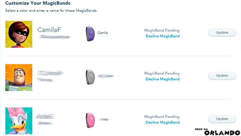 Personalizando sua Magic Band