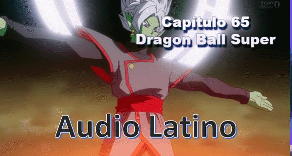 Ver capitulo 65 en audio Latino online, La fusión entre Black y Zamas del futuro alternativo, llamado Zamasu Fusión es atacado con ráfagas de energía, este expulsa su Ki y convoca un halo.