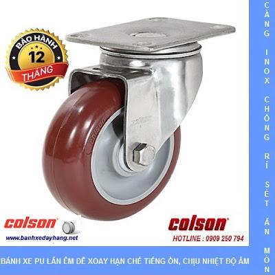 Bánh xe PU càng inox Colson Mỹ cho xe đẩy thủy sản tại Đồng Tháp banhxedaycolson.com