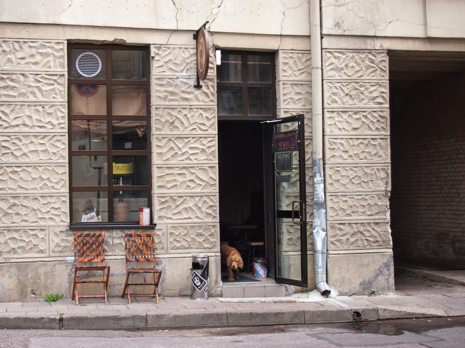 A bar front with a dog in Vilnius