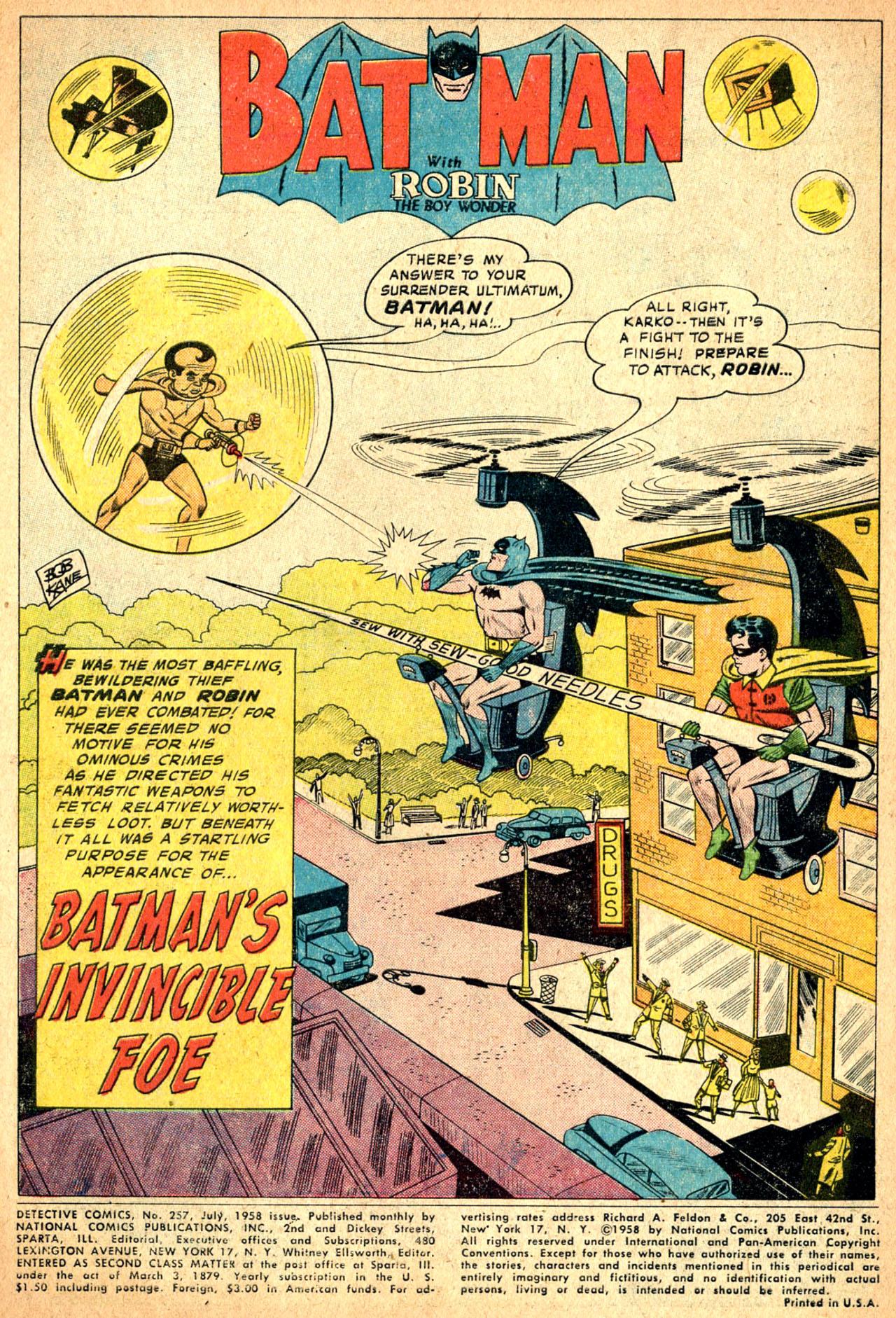 Read online Detective Comics (1937) comic -  Issue #257 - 3