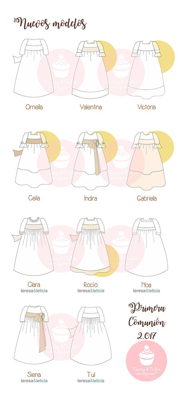 Vestidos para los Recordatorios Personalizados Primera Comunión para niñas 2017