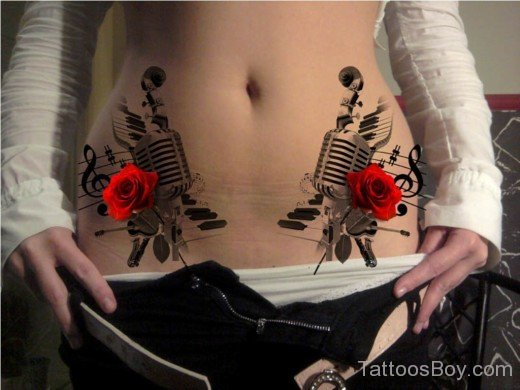 Hot Stomach Music Tattoos For Girls