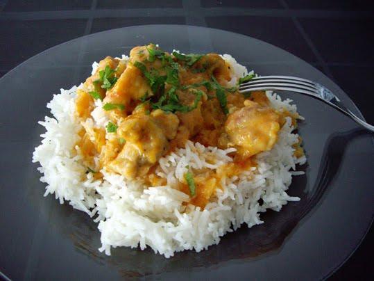arroz basmati al vapor con curry de mango