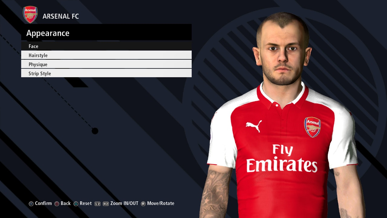 PES 2017 J. Wilshere Face by Ahmed Tattoo & Facemaker