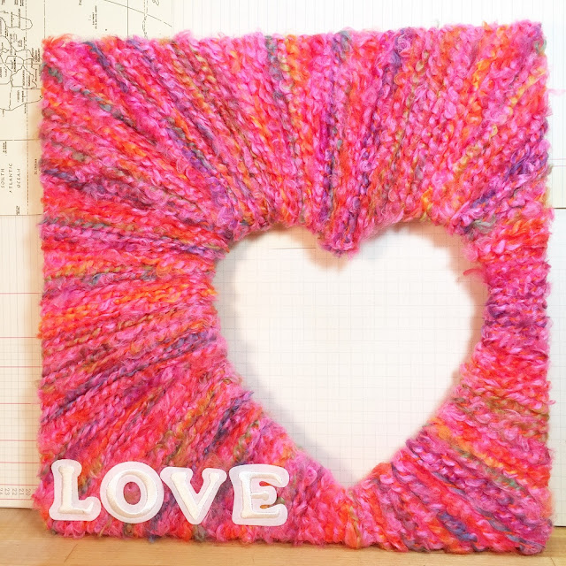 yarn wrapped heart frame
