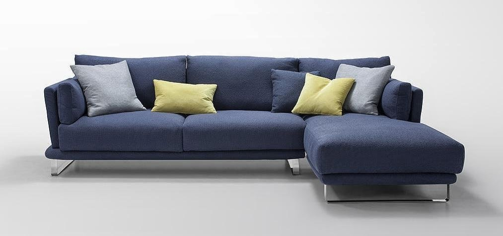 Dark Blue Microfiber Fabric Sectional Sofa