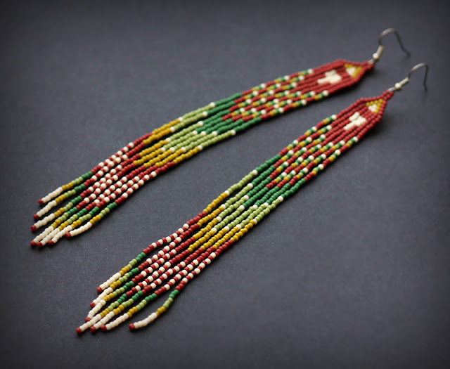 купить длинные серьги из бисера в стиле этно необычная бижутерия в стиле бохо магазин цена фото