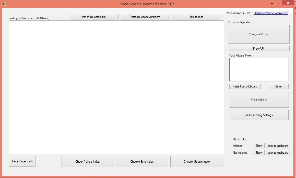 Free Bulk Google Index Checker - Mass Checker - Download for Free
