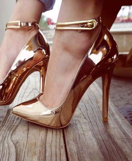 Golden-high-heels-shoes