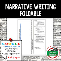 Narrative Writing Foldable, Narrative Writing Google Classroom, Digital Learning, 1:1
