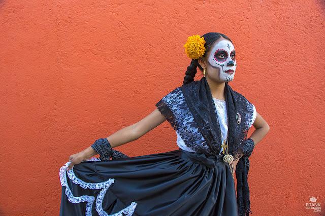 Catrina de luto en el día de muertos en Oaxaca