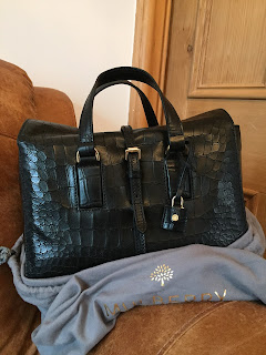 Mulberry Small Roxette in Black Deep Enbossed Croc
