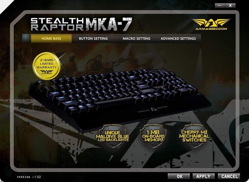 Armaggeddon Stealth Raptor MKA-7 Mechanical Gaming Keyboard 47