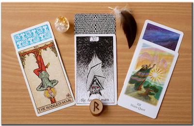 Raidho The Hanged Man Original Rider Waite tarot the Wild Unknown Tarot The Vision Quest Tarot