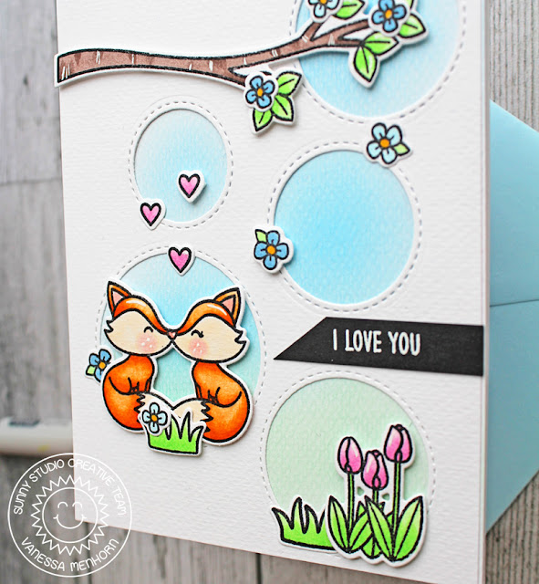 Sunny Studio Stamps: Staggered Circle Dies Foxy Christmas Love You Card by Vanessa Menhorn