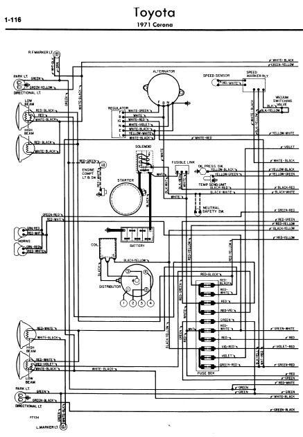 repairmanuals: Toyota Corona 1971 Wiring Diagrams