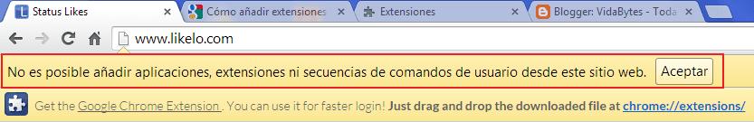 No se puede añadir aplicaciones a Chrome