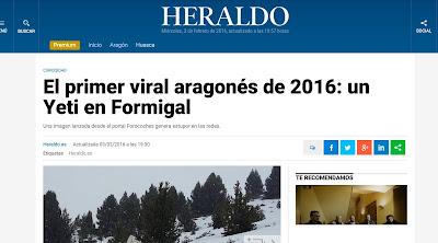 Portada Heraldo Aragón Yeti Formigal