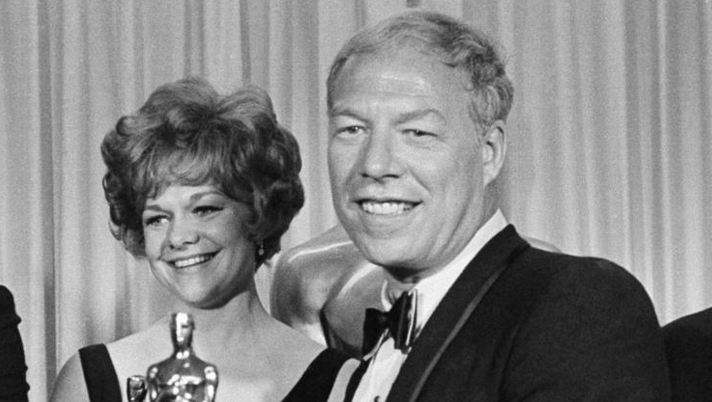 Rod Steiger, best actor; Estelle Parsons, best supporting actress; George Kennedy, best supporting actor, and George Cukor, who accepted for Katherine Hepburn, best actress on April 10, 1968 in Santa Monica. (AP)