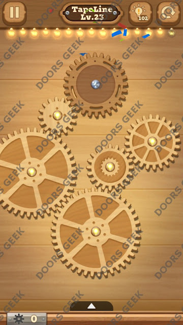 Fix it: Gear Puzzle [TapeLine] Level 23 Solution, Cheats, Walkthrough for Android, iPhone, iPad and iPod