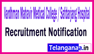 Vardhman Mahavir Medical College / Safdarjang Hospital VMMC Recruitment Notification