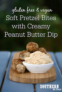 Vegan Gluten Free Soft Pretzel Bites Recipe with Creamy Peanut Butter Dip - low fat, gluten free, clean eating recipe, vegan, egg free, dairy free