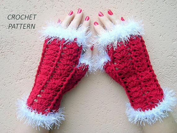 fingerless christmas mittens gloves crochet pattern