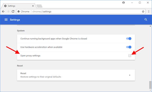 Chrome - Configurações de Proxy