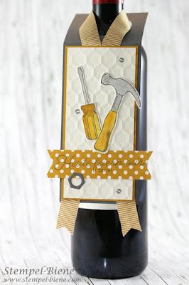 Flaschenanhänger Mann; stampinup Produktpaket Hammer; stampinup Männerworkshop; Männergeschenke basteln; Anleitung Flaschenanhänger; stampinup recklinghausen