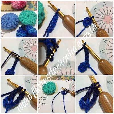 Como fazer flor de crochê yo-yo puff