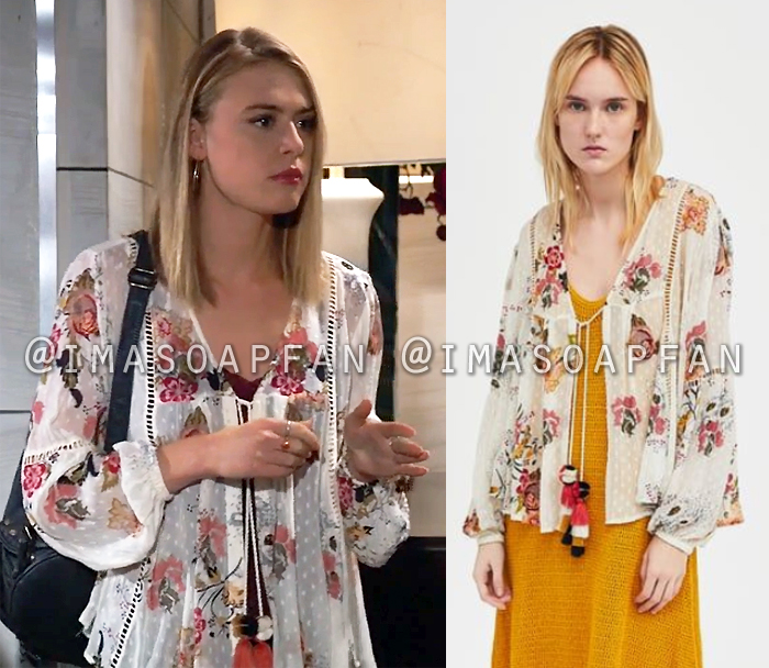 Kiki Jerome, Hayley Erin, Sheer White Floral Tie-Front Top, General Hospital, GH
