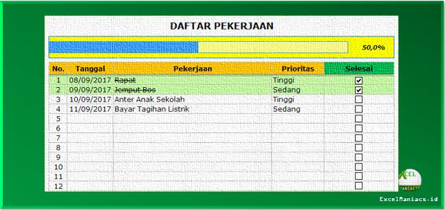 Excel To Do List / Ceklist Daftar Pekerjaan Excel