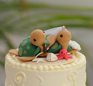 stunning turtles wedding cake topper