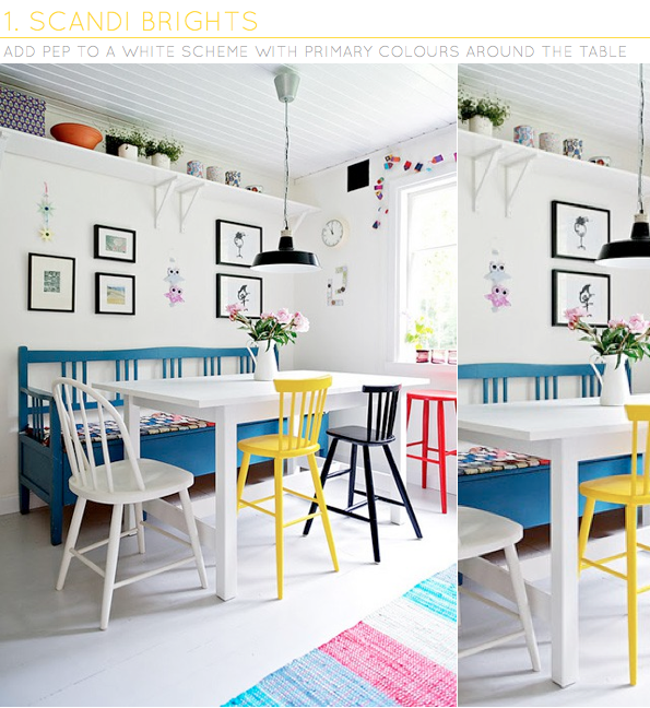 One Dining Room Three Different Ways: Three Ways: To Add Colour With Dining Chairs
